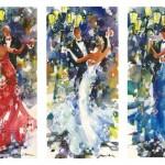 Несколько картин Миши уже заняли свое место в частных коллекциях палермитанцев, а представленная на выставке трилогия «Вальс в белом», «Вальс в красном», «Вальс в синем» будет продана на благотворительном аукционе